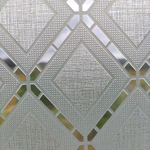 Raamfolie statisch-anti inkijk-Textiel Rhombus grijs 46cm Breed