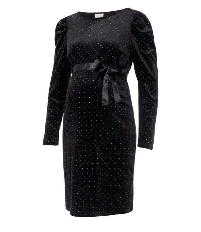 Mldoreen short dress velours black glitter
