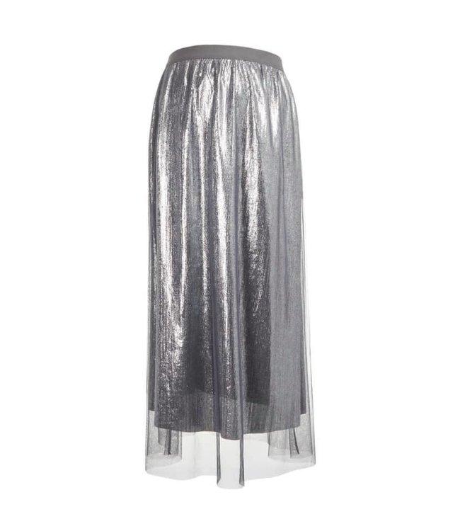 Mlmandy mesh jersey midi skirt silver