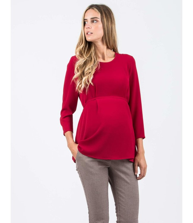 Blouse Che lintje 3/4 mouw rood