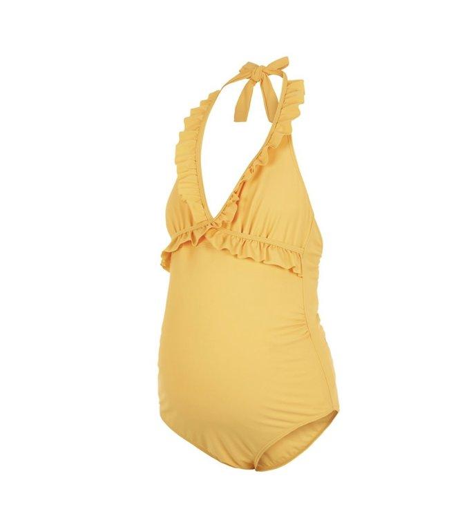 Mlanita badpak ruffles geel