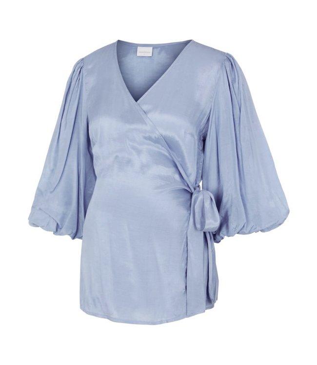 Mlmariah 3/4 woven wrap top blue