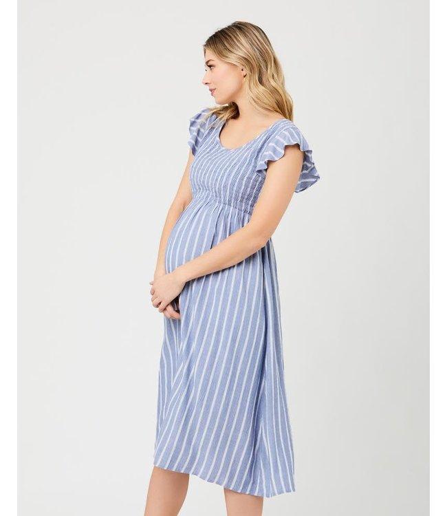 Sofia shirred dress blue/white