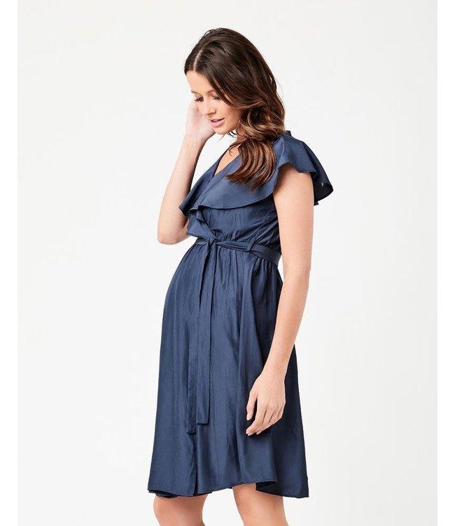 Frill wrap nursing dress blue