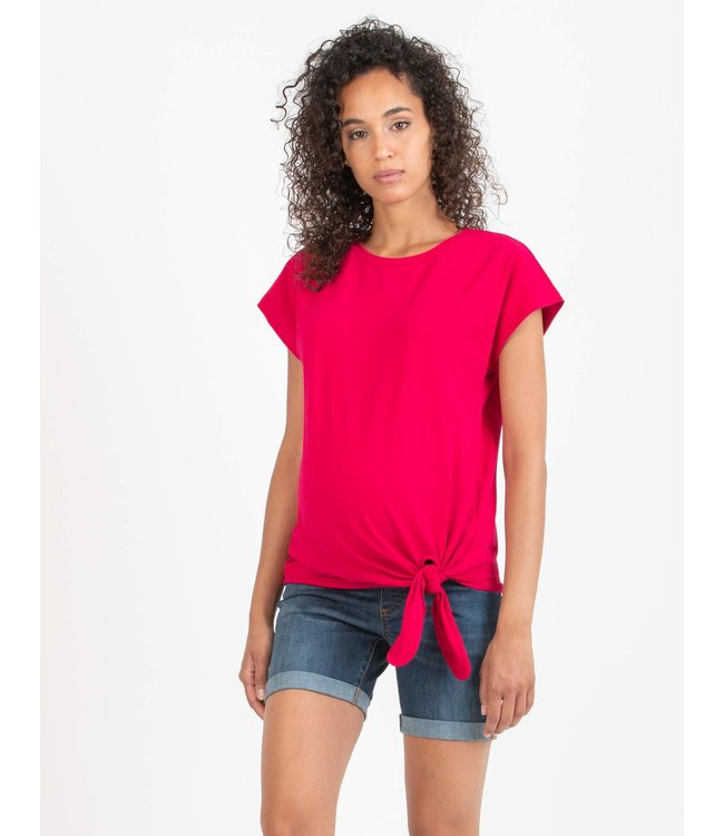 Tshirt effen knoop roze