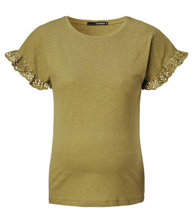 Supermom Tshirt broderie olive