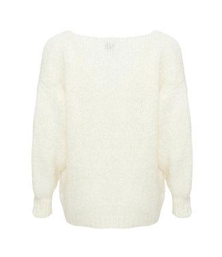 Fora knit V-neck white