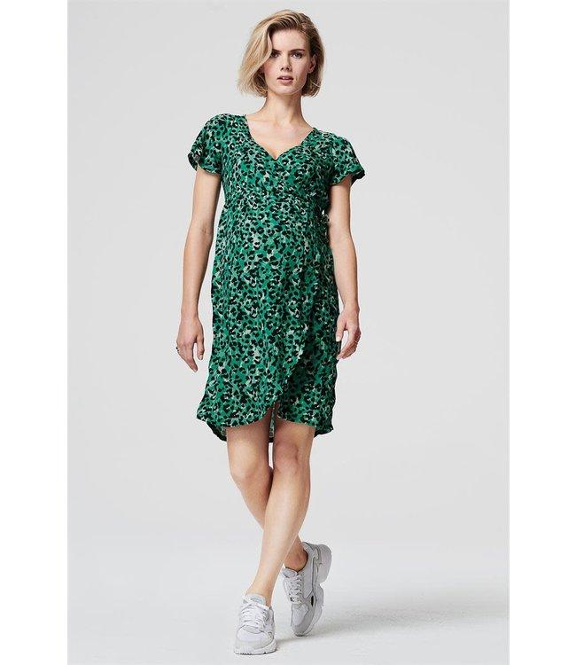 Flower wrap nursing dress leopard seagreen