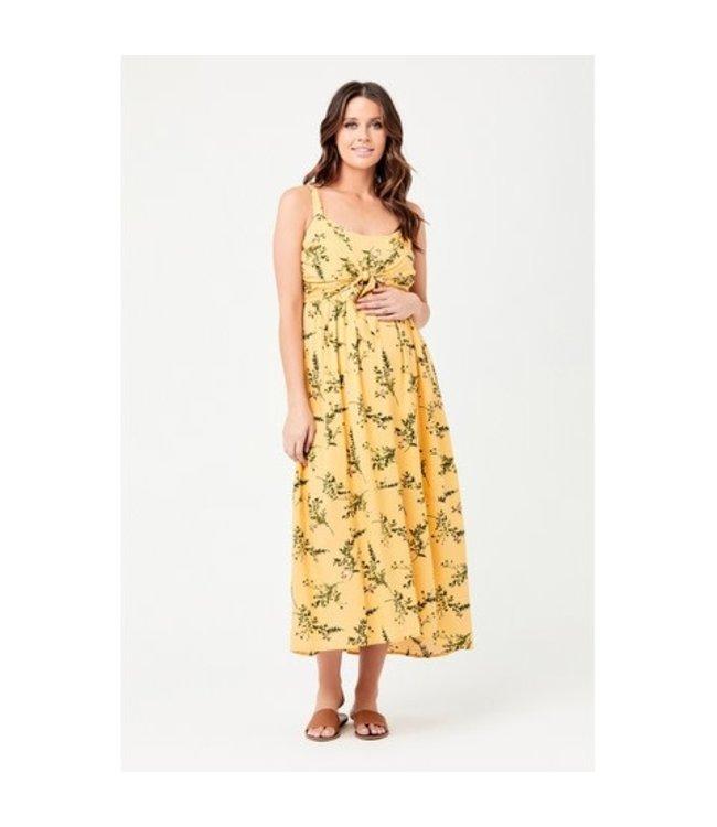 Audrey Tie front nursing dress yellow
