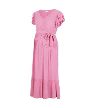 Mamalicious Mlarisa capsleeve midi pink dress