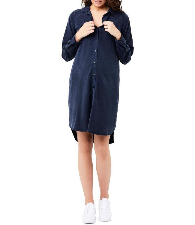 Tencel shirt dress navy