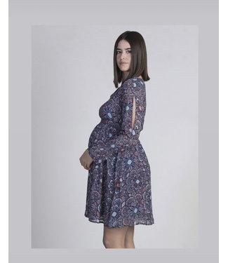 Ohma Dress print nursing pink blue