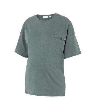 Mamalicious Mlmarylee T-shirt green 'hello baby' oversized