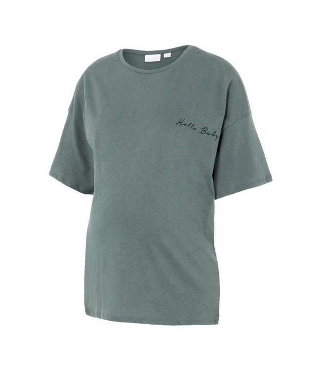 Mlmarylee T-shirt green 'hello baby' oversized