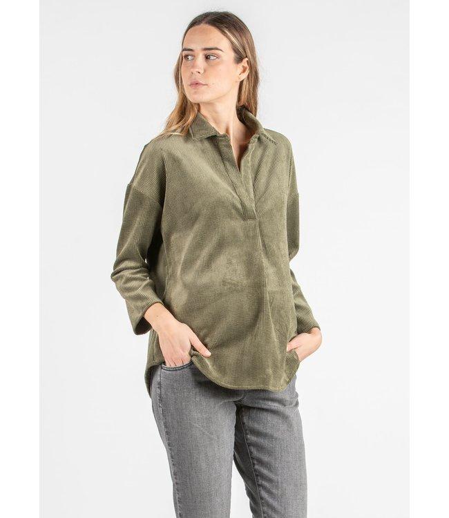 Hemd Olivia ribfluweel  groen