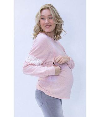 L2W Sweater nursing pink crochet