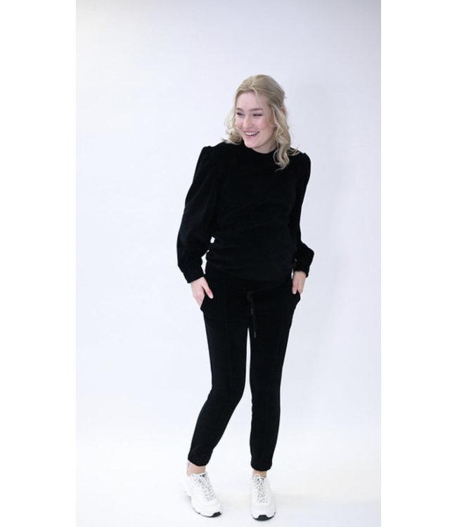 Sweater nursing Nicky velvet zwart