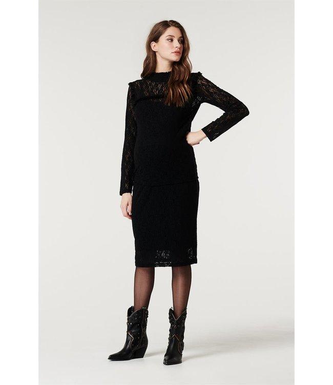 Supermom Blouse longsleeve lace black