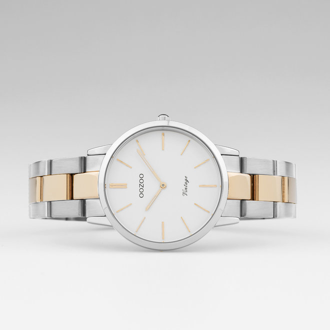 OOZOO Vintage  - C20045 - Damen - Edelstahl - Glieder-Armband - Bicolor/Silber