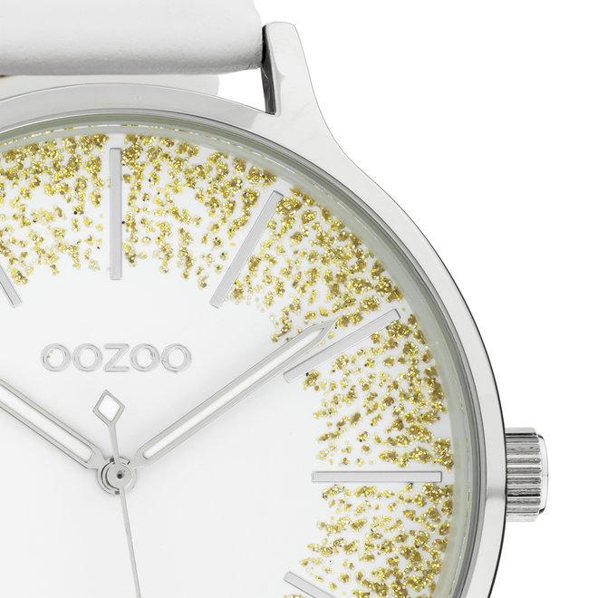 OOZOO Timepieces - Damen - Leder-Armband - Weiß/Silber