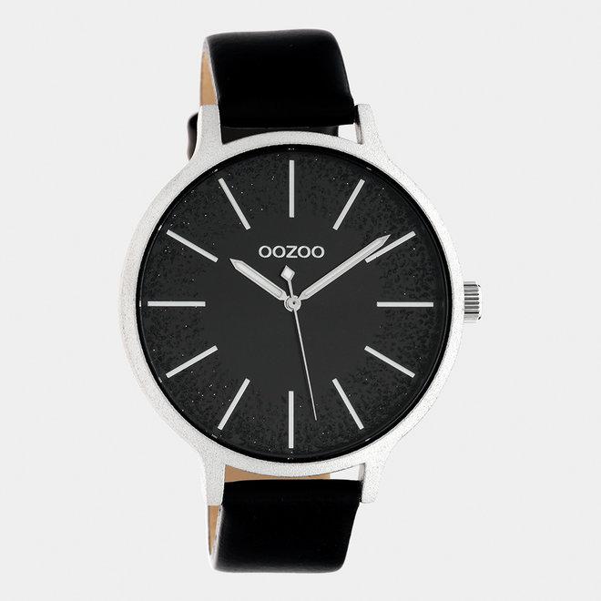 OOZOO Timepieces - Damen - Leder-Armband - Schwarz/Silber