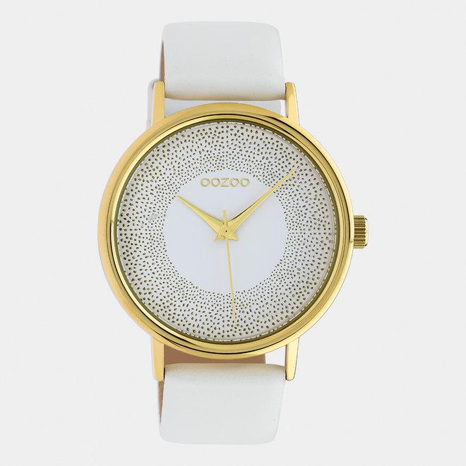 OOZOO Timepieces - Damen - Leder-Armband - Weiß/Gold