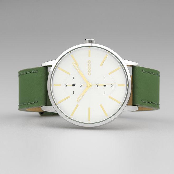 OOZOO Timepieces - C10586 - Unisex - Leder-Armband - Grün/Silber