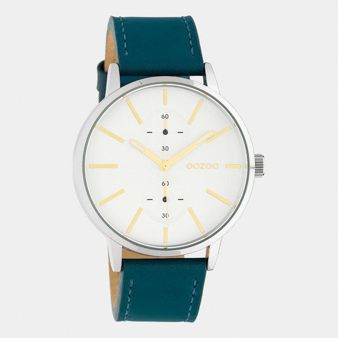 OOZOO Timepieces - C10587 - Unisex - Leder-Armband - Petrol/Silber