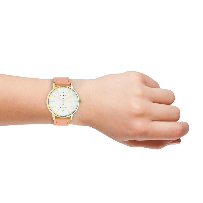 OOZOO Timepieces - C10588 - Damen - Leder-Armband - Puderpink/Gold