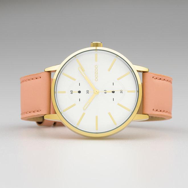 OOZOO Timepieces - C10588 - Unisex - Leder-Armband - Puderpink/Gold