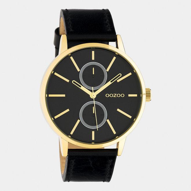OOZOO Timepieces - C10589 - Damen - Leder-Armband - Schwarz/Gold