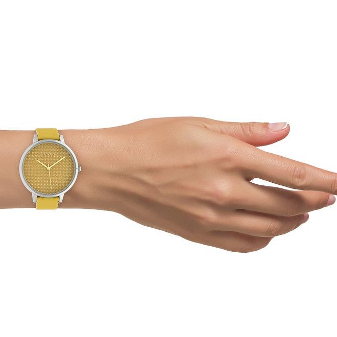 OOZOO Timepieces - C10590 - Damen - Leder-Armband - Gelb/Silber