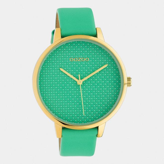 OOZOO Timepieces - Damen - Leder-Armband - Biscay-Grün/Gold