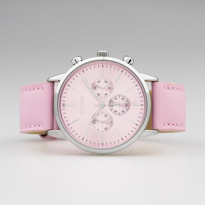 OOZOO Timepieces - Unisex - Leder-Armband - Rosa/Silber