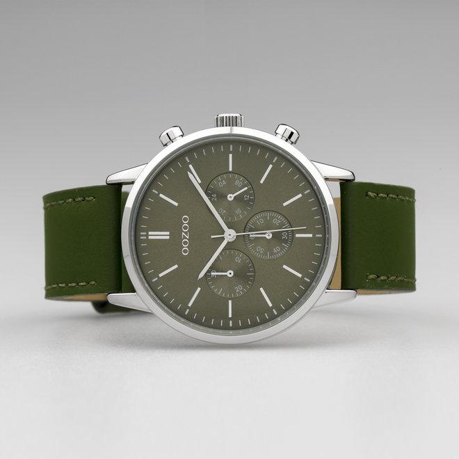 OOZOO Timepieces - Unisex - Leder-Armband - Olivegrün/Silber