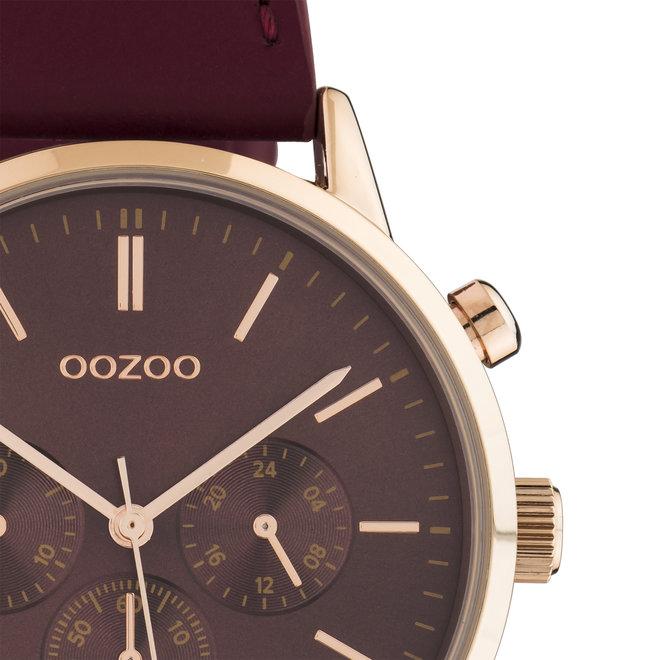 OOZOO Timepieces - Damen - Leder-Armband -  Bordeauxrot/Roségold