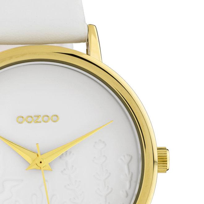 OOZOO Timepieces - C10601 - Damen - Leder-Armband - Weiß/Gold