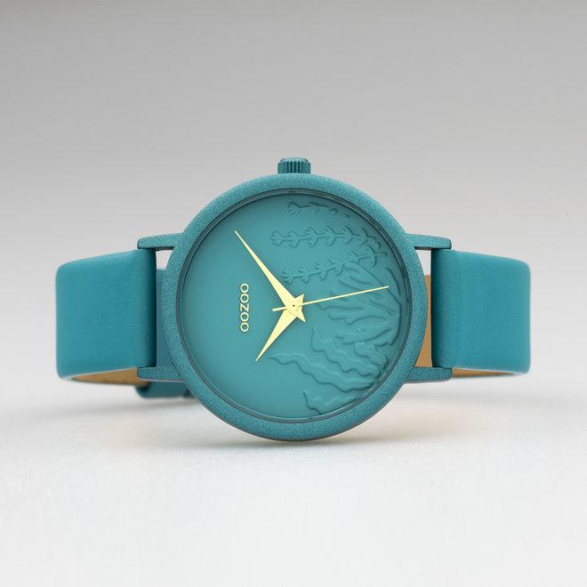 OOZOO Timepieces - C10606 - Damen - Leder-Armband - Blaugrün/Blaugrün