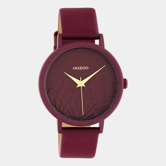 OOZOO Timepieces - C10609 - Damen - Leder-Armband - Burgund/Burgund