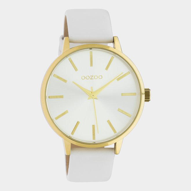OOZOO Timepieces - C10611 - Damen - Leder-Armband - Weiß/Gold