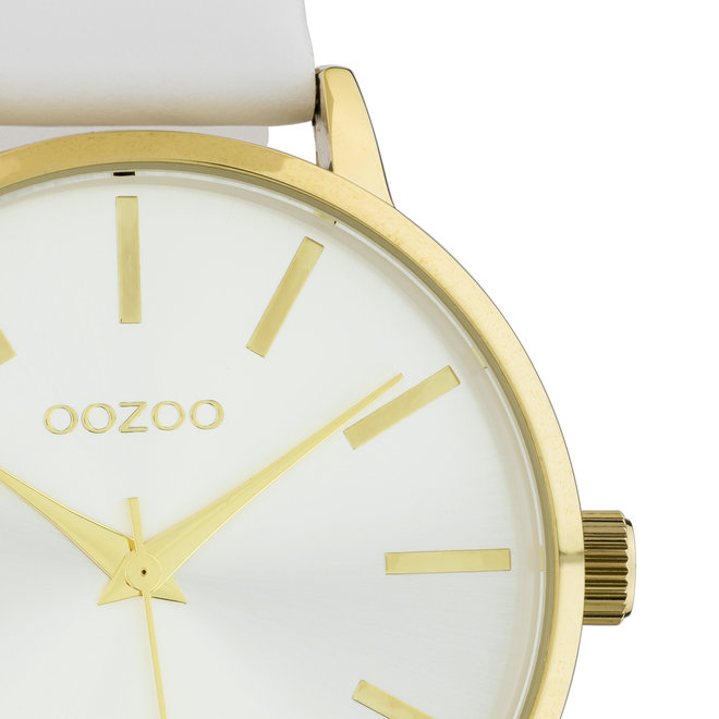 OOZOO Timepieces - Damen - Leder-Armband - Weiß/Gold