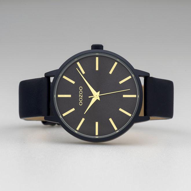 OOZOO Timepieces - Damen - Leder-Armband - Schwarz/Schwarz