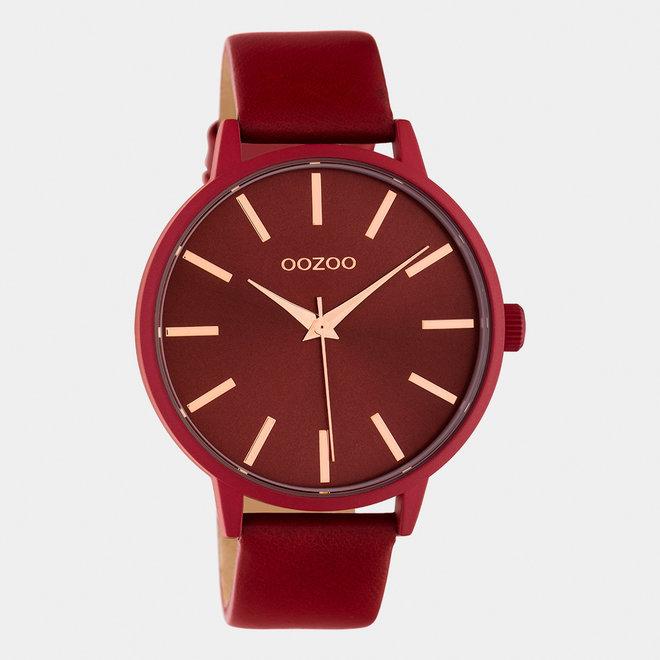 OOZOO Timepieces - C10618 - Damen - Leder-Armband - Rot/Rot