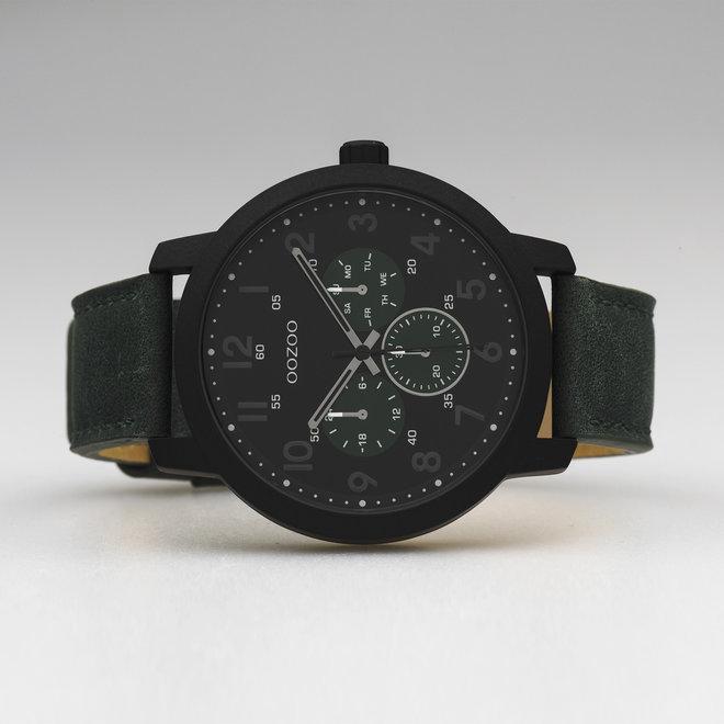 OOZOO Timepieces - Herren - Leder-Armband -  Grün/Schwarz