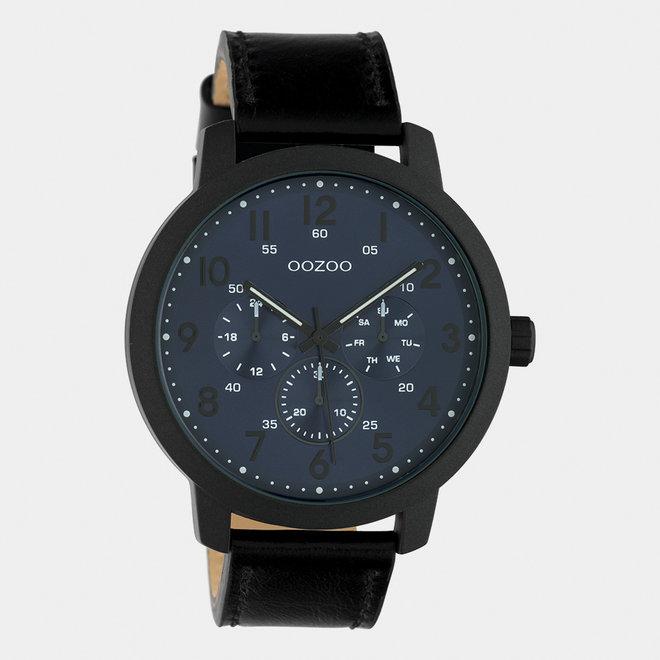 OOZOO Timepieces - Herren - Leder- Armband -  Schwarz/Schwarz
