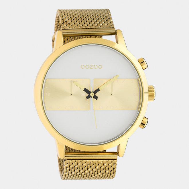 OOZOO Timepieces - Herren - Edelstahl - Mesh-Armband -  Gold/Weiß