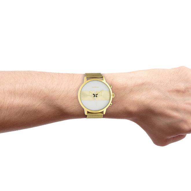 OOZOO Timepieces - C10510 - Herren - Edelstahl-Mesh-Armband -  Gold/Weiß