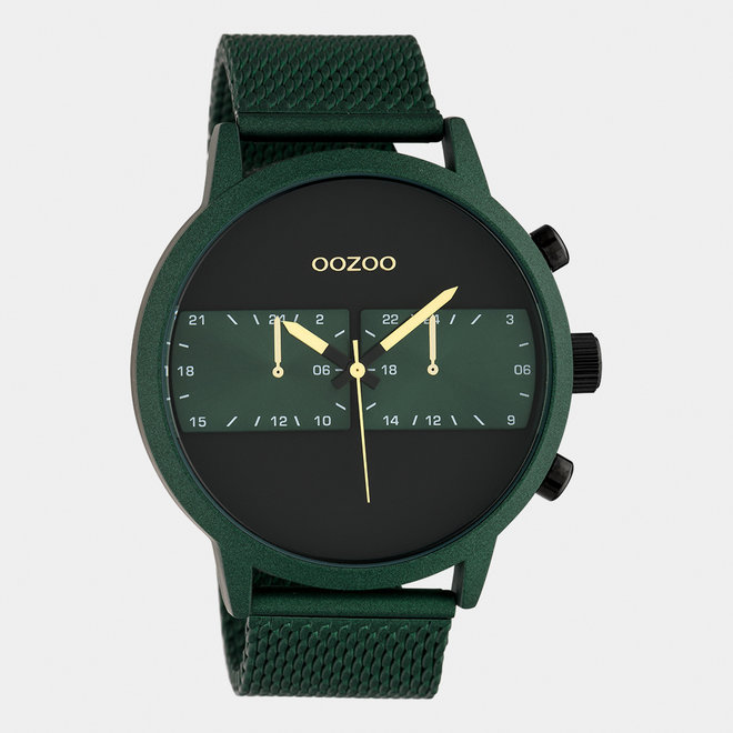 OOZOO Timepieces - C10512 - Herren - Edelstahl-Mesh-Armband -  Grün/Grün