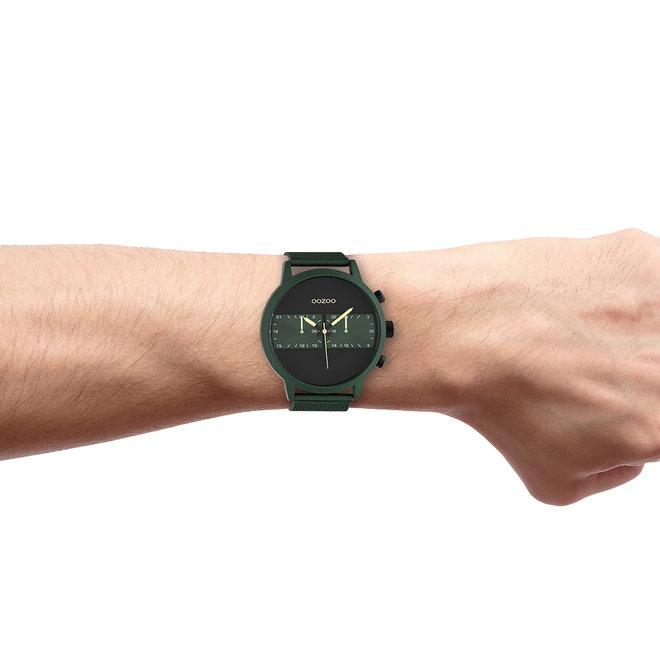 OOZOO Timepieces - Herren - Edelstahl-Mesh-Armband -  Grün/Grün