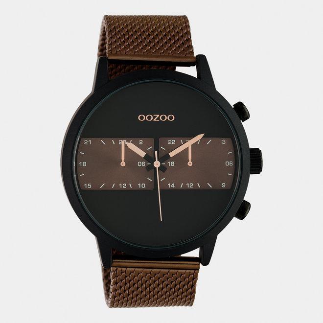 OOZOO Timepieces - Herren - Edelstahl-Mesh-Armband -  Braun/Schwarz